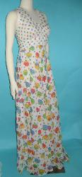 Vintage 70s Floating Tomato and Polka Dot Print Maxi Dress Empire Waist with Tie Jacket B36