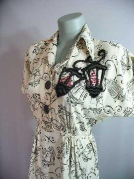 vintage 40's rayon dress lanterns