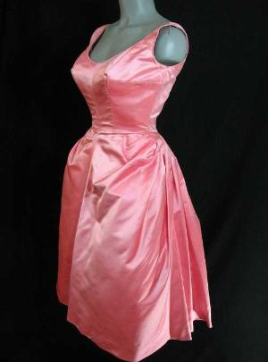 vintage 50's pink eveing gown cocktail dress