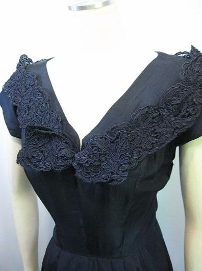 Vintage 50's Navy Blue Silk Cocktail Dinner Dress Lace Bow B36 B38