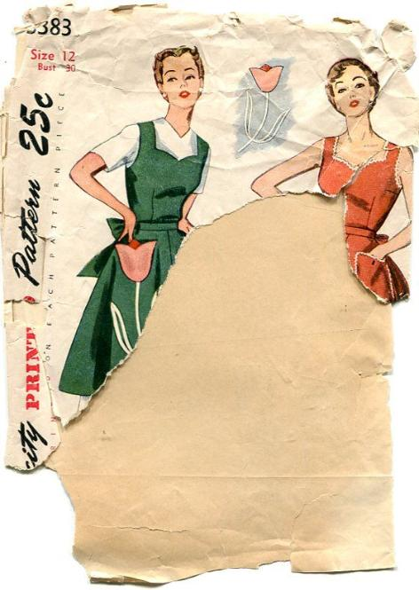 Vintage Simplicity Dress Pinafore Apron Pattern Tulip