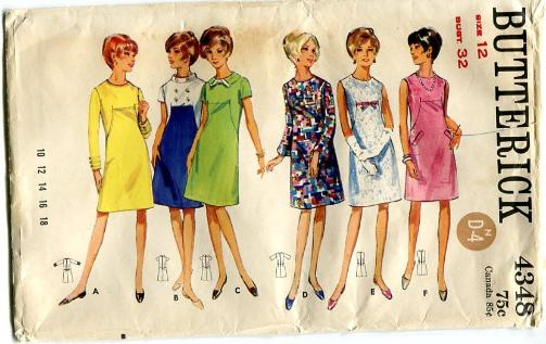 Vintage Butterick 4348 Pattern Sheath Dress W Curved