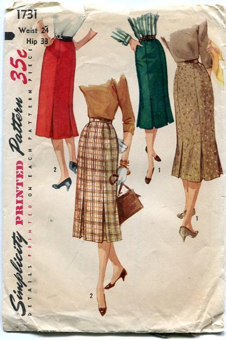 Simplicity 1731 1950 S Vintage Sewing Pattern Women S