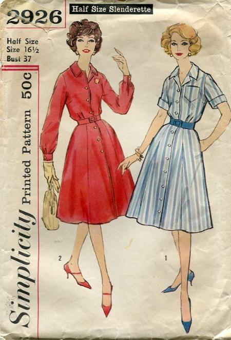 vintage sewing pattern 1950\'s shirtwaist dress 2926